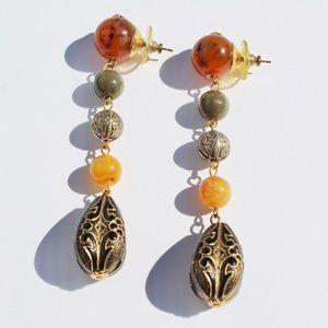 Vintage Faux Amber Lucite Long Dangle Earrings